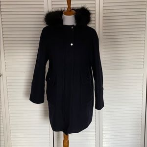 Zara Wool Blend Navy Coat